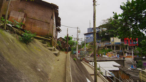 Panning shot of a community in a favela in Rio de Janeiro, Brazil Footage