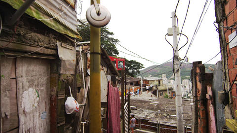 Dolly shot of homes at a favela in Rio de Janeiro, Brazil Footage