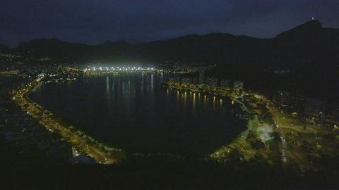 Lagoon at night in Rio de Janeiro, Brazil Live Action