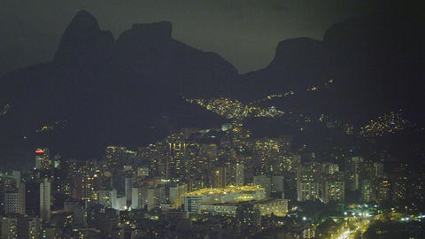 Slow pan of downtown Rio de Janeiro at night in Brazil Live Action