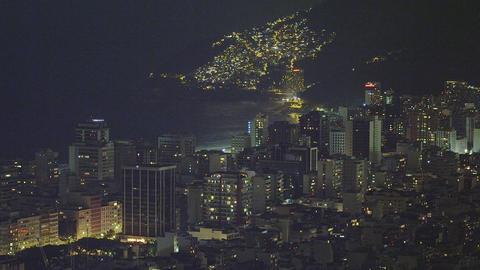 Slow pan of the Rio de Janeiro skyline in Brazil Footage