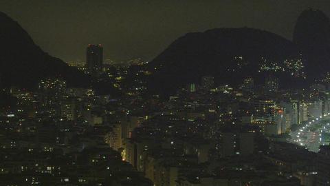 Night pan of Rio de Janeiro cityscape in Brazil Footage