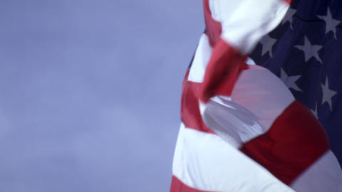 Shot of American flag close up and blowing in the wind Footage
