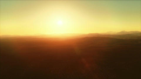 No Man's Land - Flight Over Deserted Plains by Sunset Animation