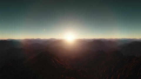 No Mans Land - Flight Over Deserted Peaks by Sunset Animation