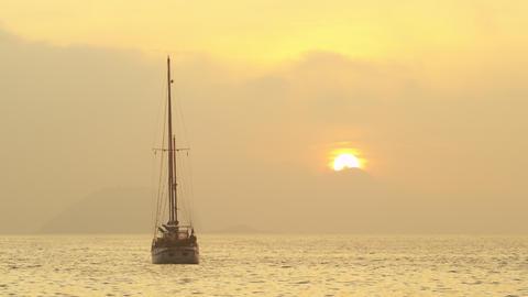 Boat afloat at sea near Rio de Janeiro, Brazil Footage