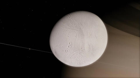Closeup of Dione Moon with Gigantic Perspective of Saturn Transit Animation