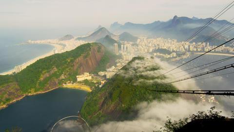 Slow pan of Brazilian coastline on a misty morning in Rio de Janeiro, Brazil Footage