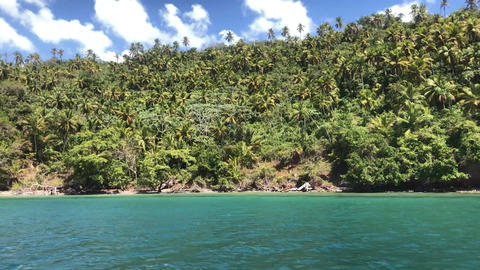 View from the boat on the Samana Peninsula in the Dominican Republic 3 Footage