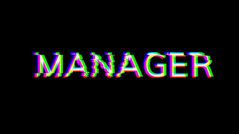From the Glitch effect arises text MANAGER. Then the TV turns off. Alpha channel Premultiplied - Animation