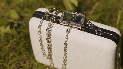 Beautiful white feminine clutch lying on green grass Live Action