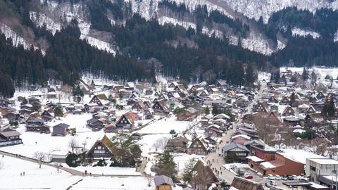 Winter snow of Shirakawago in Gifu, Japan time lapse Footage