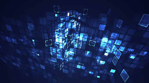Abstract blue cyber digital technology seamless looping... Stock Video Footage