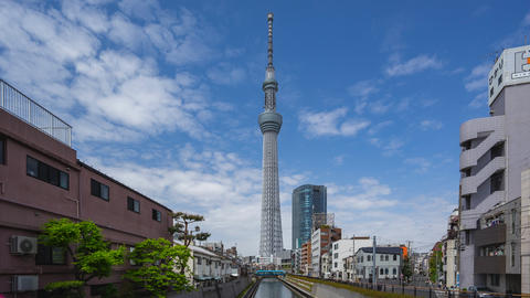Tokyo sky Tree the with Cleary sky time lapse in Tokyo city, Japan Live Action
