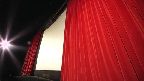 Closing Curtain in a movie theater - modern cinema Live Action