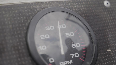 Engine speed tachometer on a motor boat Footage
