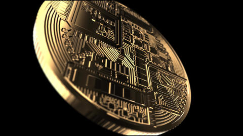 Bitcoin - close up shot - rendered animation Footage
