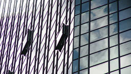 Glass Tower Facade Reflecting Cloud Movement Live Action