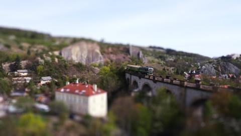 Aerial view - rail train miniature tilt shift lens effect time lapse Footage