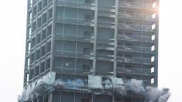 Skyscraper Demolition Blast in Real Time Stock Video Footage