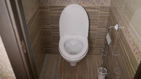 Toilet bowl in the toilet. Toilet in the toilet, view from the top Footage
