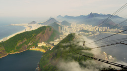 Idyllic view of Brazilian coastline from Sugarloaf Mountain Live Action