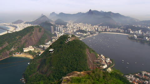 Gondola ascending along the side of Sugarloaf Mountain in Rio de Janeiro, Brazil Footage