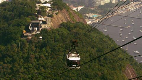 Shot of gondola going down the mountain in Rio de Janeiro, Brazil Live Action