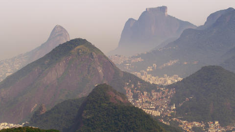 Wide static shot of Rio de Janeiro surrounded by mountains in Brazil Footage