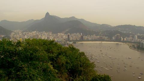 Top view of Lagoa Rodrigo de Freitas in Rio de Janeiro, Brazil Live Action