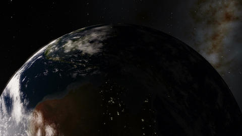 Close-up Night to Day Timelapse Seen from Above Planet Earth Animation