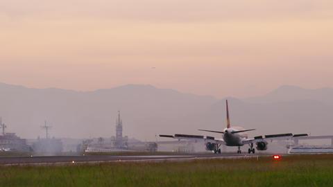 RIO DE JANEIRO, BRAZIL - JUNE 21: Comercial plane lands, Rio de Janeiro, June 21 Live Action