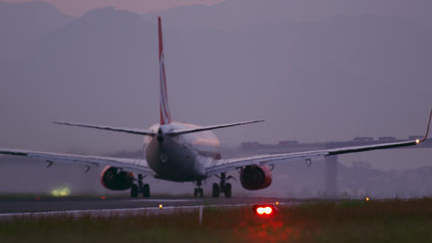 RIO DE JANEIRO, BRAZIL - JUNE 21: Close up of plane taking off at Rio de Janeiro Footage