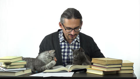 man sitting at table studying with his cats Footage