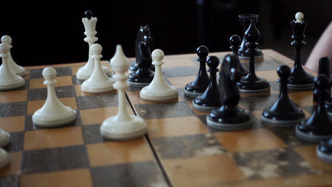 Chessboard And Chess Pieces Footage