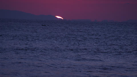Panoramic shot of the sunset at the Costa Rica coastline Live Action
