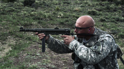 Soldier shooting an MP40 Footage