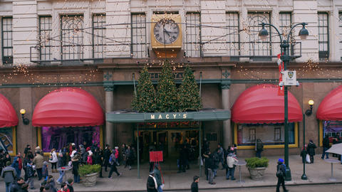 Shot of Macys entrance with christmas decorations from 7th avenue entrance in Ne Footage