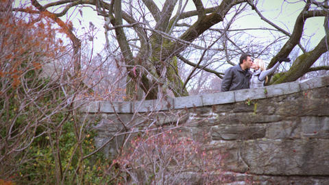 Shot of couple kissing in central park Footage