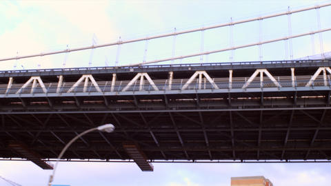Dolly shot going under a bridge in New York City Footage