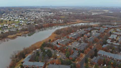 Panorama aerial vertical view residential houses with USA during fall Live Action