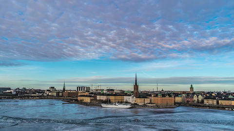 Stockholm City Skyline in Winter Time Lapse Footage
