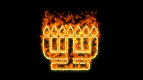 menorah symbol inflames. Then disappears. In - Out loop. Alpha channel Premultiplied - Matted with Animation
