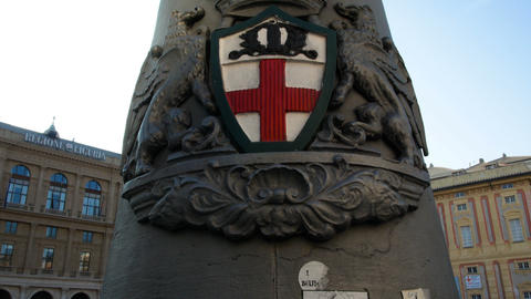 lamp post with the emblem of the city of Genoa Footage