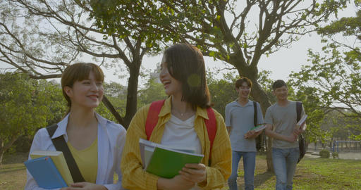 group of happy college students walking in the campus Footage