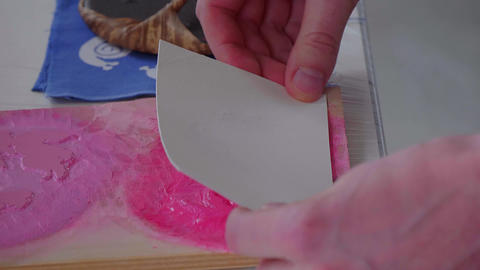 Japanese paper art - painting and printing bookmarks Footage