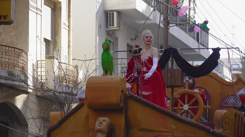 Xanthi, Greece Carnival King and Queen posing Live Action