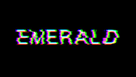 From the Glitch effect arises EMERALD. Then the TV turns off. Alpha channel Premultiplied - Matted Animation
