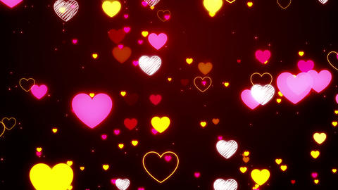 Neon Hearts Particles Animation