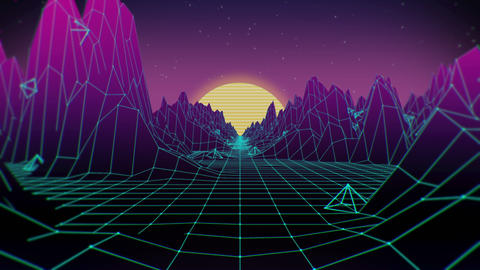 80s Retro Sci-Fi Background Animation